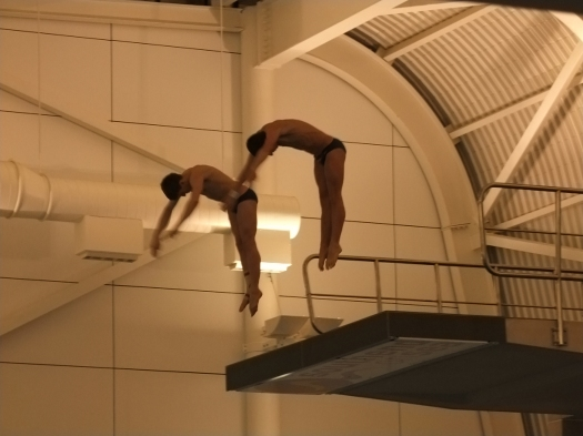 Competitors in the mens 10m synchro