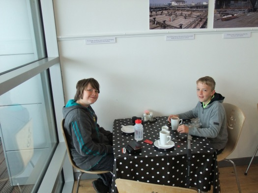 The boys enjoying the cafe