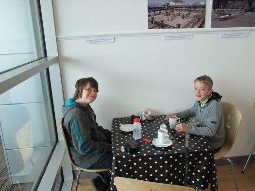 The boys enjoying the cafe